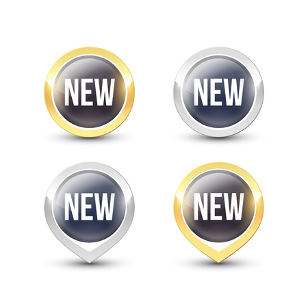 Black round NEW buttons and pointers with metallic gold and silver border. Vector label icons isolated on white background. Reklamní fotografie - 119793022