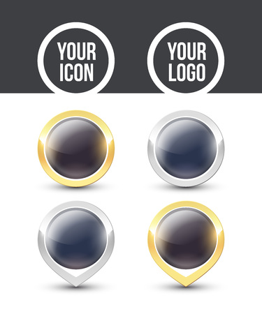 Black round buttons and pointers with metallic gold and silver border, empty to place your logo. Vector label icons isolated on white background.  イラスト・ベクター素材