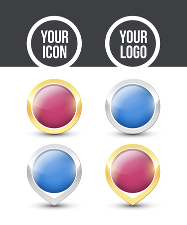 Purple and blue round buttons and pointers with metallic gold and silver border, empty to place your logo. Vector label icons isolated on white background.  イラスト・ベクター素材