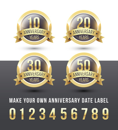 Gold ANNIVERSARY date labels with ribbon banner. Round vector icons set. Ilustrace
