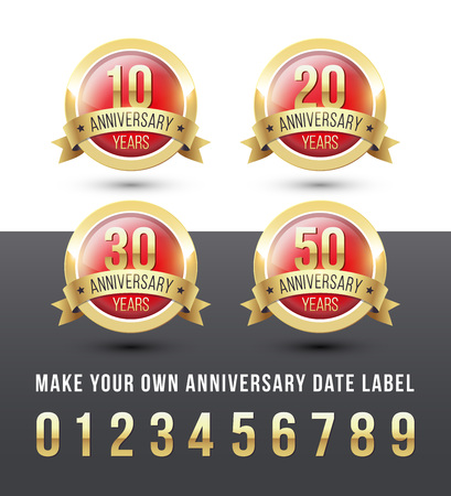 Gold and red ANNIVERSARY date labels with ribbon banner. Round vector icons set. Reklamní fotografie - 119793028