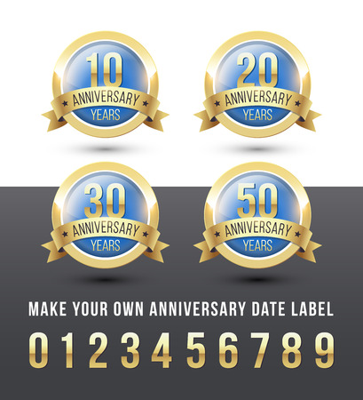 Gold and blue ANNIVERSARY date labels with ribbon banner. Round vector icons set.