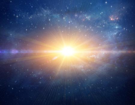 Stellar explosion shining in deep space, cosmic star blast in Universe. High resolution galaxy background. Reklamní fotografie - 123216820