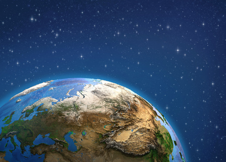 Planet Earth in deep space, focused on Europe and Asia. 3D illustration Reklamní fotografie - 123216824