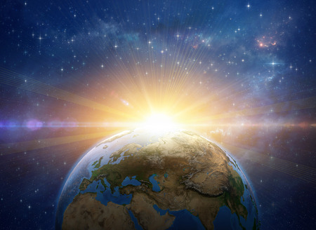 Sun rising over the Earth in deep space. Giant meteor explosion on the planet. Global warming concept. 3D illustration