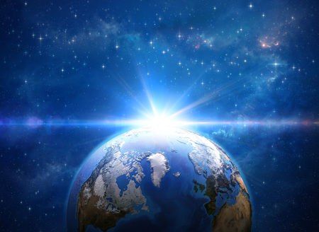 Giant meteor explosion on planet Earth from space, over Greenland and Arctic. 3D illustration