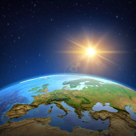 Powierzchnia planety Ziemia widziana z satelity, skupiona na Europie, słońce świecące w dalekim kosmosie. ilustracja 3D