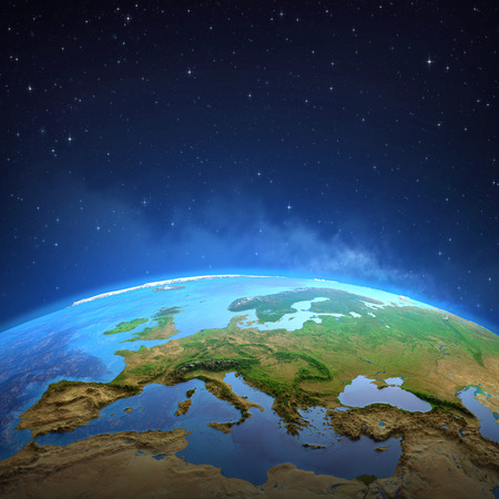 Surface of the Planet Earth viewed from a satellite, focused on Europe. 3D illustration Reklamní fotografie - 123216847