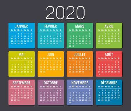Year 2020 colorful minimalist calendar, in French language, on black background. Vector template Illustration