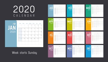 Year 2020 colorful minimalist monthly calendar on black background. Week starts Sunday. Vector template.