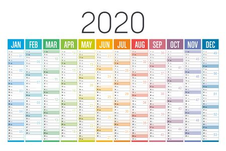 Year 2020 colorful calendar on white background. Vector template.