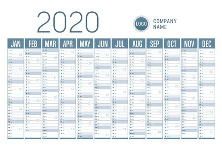 Year 2020 horizontal one page calendar on white background. Vector template.