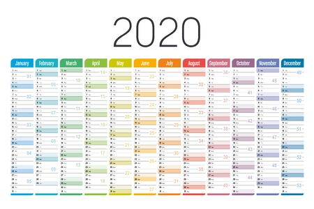 Year 2020 one page colorful calendar, on white background. Vector template.