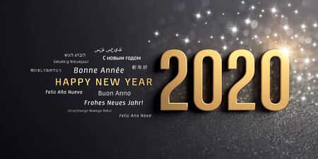 New Year date 2020 colored in gold and greeting words in multiple languages, on a glittering black background - 3D illustration