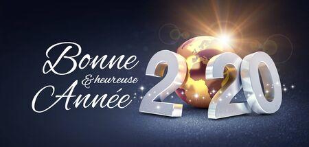 Fecha de plata 2020 compuesta con un planeta tierra dorado y saludos de feliz año nuevo en francés, brillando sobre un fondo negro - Ilustración 3D