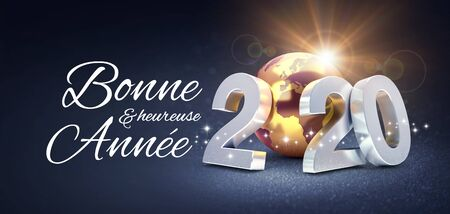 Silver date 2020 composed with a gold planet earth and happy new years greetings in French, glittering on a black background - 3D illustration