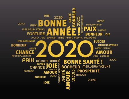 Gold greeting words around New Year date 2020, in French language, on black background