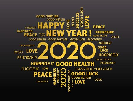 Gold greeting words around New Year date 2020, on black background Иллюстрация