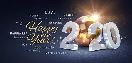 Gelukkig nieuwjaarsgroeten, beste wensen en 2020 datumnummer, samengesteld met een goudkleurige planeet aarde, op een feestelijke zwarte achtergrond, met glitters en sterren - 3D illustratie Stockfoto