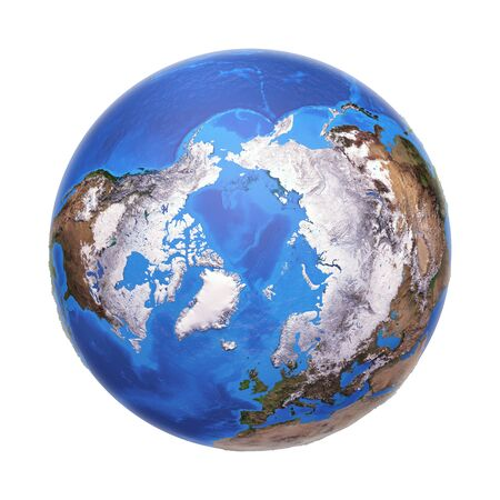Arctic region viewed from a satellite. Physical map of North Pole in winter, february. 3D illustration of planet Earth isolated on white, with high bump effect