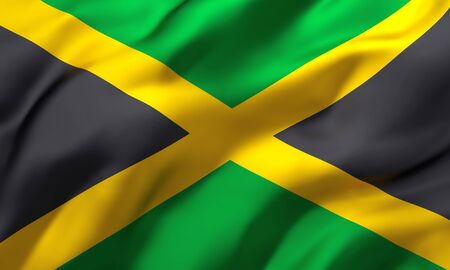 Flag of Jamaica blowing in the wind. Full page Jamaican flying flag. 3D illustration.