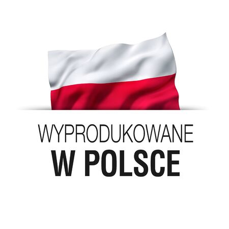 Made in Poland written in Polish language. Guarantee label with a waving Polish flag.