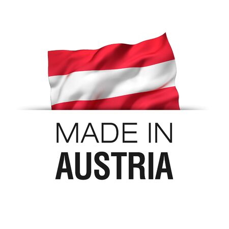 Made in Austria - Guarantee label with a waving Austrian flag.