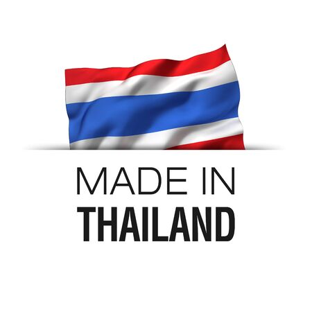 Made in Thailand - Guarantee label with a waving Thai flag.