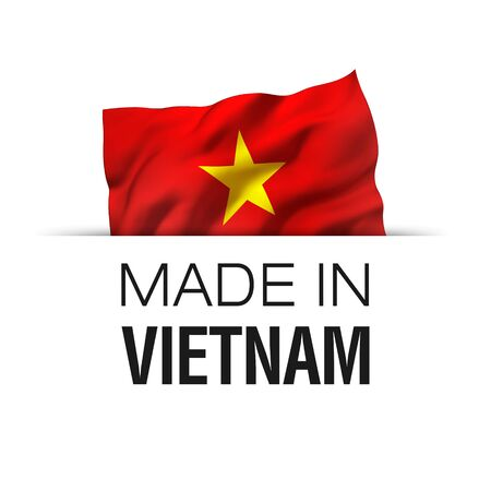 Made in Vietnam - Guarantee label with a waving Vietnamese flag.