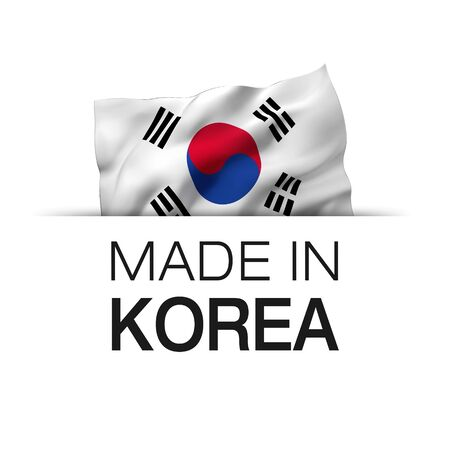 Made in Korea - Guarantee label with a waving South Korean flag.