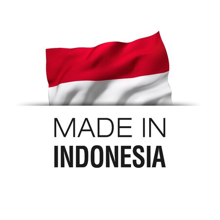 Made in Indonesia - Guarantee label with a waving Indonesian flag.