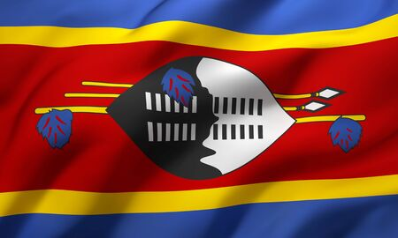 Flag of Swaziland blowing in the wind. Full page Swazi flying flag. 3D illustration.