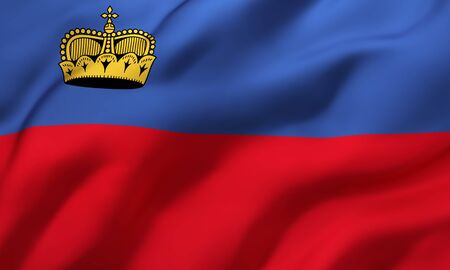 Flag of Liechtenstein blowing in the wind. Full page Liechtenstein flying flag. 3D illustration.