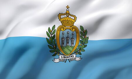 Flag of San Marino blowing in the wind. Full page San Marino flying flag. 3D illustration. Imagens