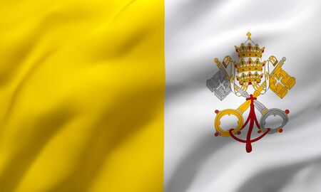 Flag of France Vatican in the wind. Full page Vatican flying flag. 3D illustration.