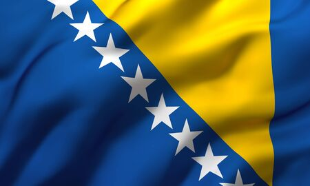 Flag of Bosnia and Herzegovina blowing in the wind. Full page Bosnia Herzegovinan flying flag. 3D illustration.