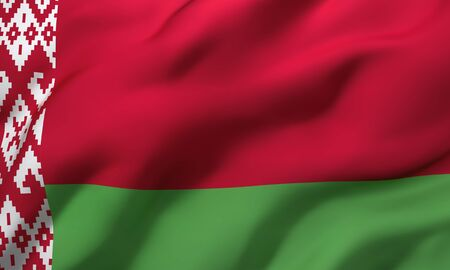 Flag of Belarus blowing in the wind. Full page Belarusian flying flag. 3D illustration.