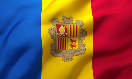 Flag of Andorra blowing in the wind. Full page Andorran flying flag. 3D illustration. Imagens