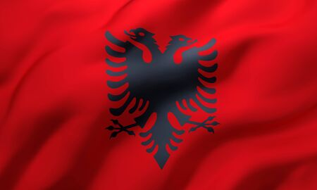 Flag of Albania blowing in the wind. Full page Albanian flying flag. 3D illustration. Imagens