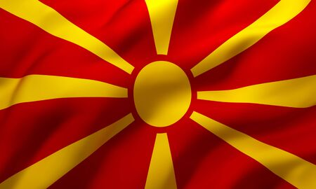 Flag of Macedonia blowing in the wind. Full page Macedonian flying flag. 3D illustration.