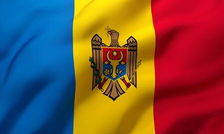 Flag of Moldova blowing in the wind. Full page Moldovan flying flag. 3D illustration.