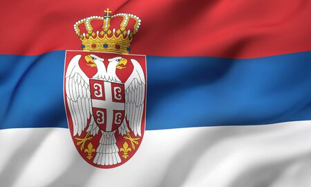 Flag of Serbia blowing in the wind. Full page Serbian flying flag. 3D illustration. Imagens