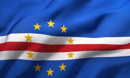 Flag of Cape Verde blowing in the wind. Full page Cape Verdean flying flag. 3D illustration. Imagens