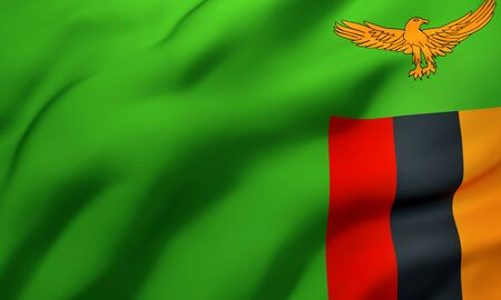 Flag of Zambia blowing in the wind. Full page Zambian flying flag. 3D illustration.