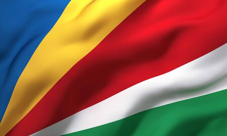 Flag of Seychelles blowing in the wind. Full page Seychellois flying flag. 3D illustration.