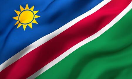 Flag of Namibia blowing in the wind. Full page Namibian flying flag. 3D illustration. Imagens