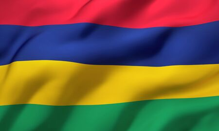 Flag of Mauritius blowing in the wind. Full page Mauritian flying flag. 3D illustration.