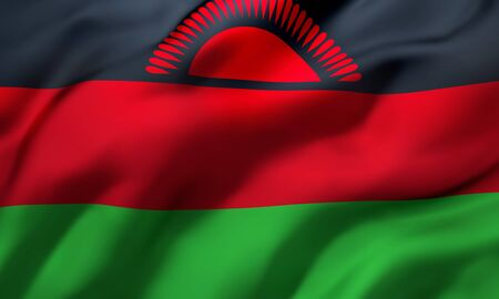 Flag of Malawi blowing in the wind. Full page Malawian flying flag. 3D illustration. Imagens