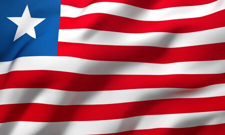 Flag of Liberia blowing in the wind. Full page Liberian flying flag. 3D illustration.