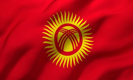 Flag of Kyrgyzstan blowing in the wind. Full page Kyrgyzstani flying flag. 3D illustration. Imagens
